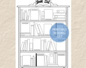 Printable Book List, Printable Reading List, Printable Bookshelf, Bullet Journal Reading List Insert