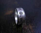 Made to order tumbling wish band, double layered rustic sterling silver with stamped dandelion puffs