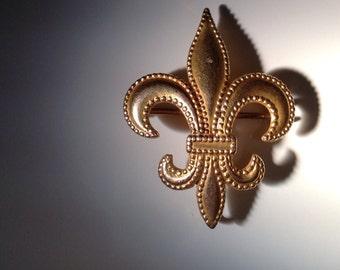 1890 10 KT Gold Fleur de Lis Brooch
