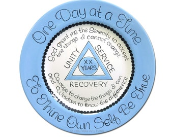 AA Alcoholics Anonymous Personalized Serenity Prayer Anniversary/Birthday/Recovery Plate - 11 inch plate