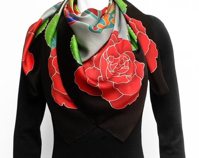 Silk scarf Handpainted, Sacred geometry, mandala scarf, Flower scarf, Quetzalcoatl, Silk scarf square, Hand made scarf, Aztec art