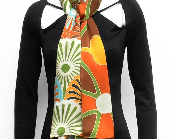 silk scarf Handpainted, Floral scarf, long scarf, Handmade scarf, Skull scarf, Batik Scarf, Women Silk Scarf, Unique scarf, green silk scarf