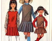 Girl's Jumper with Pleated Skirt Size 8 Simplicity 6703 Vintage Sewing Pattern