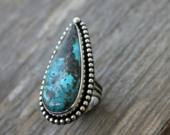 Kingman turquoise ring - metalwork - sterling silver ring - silver and turquoise - statement ring - southwestern - bohemian - large ring