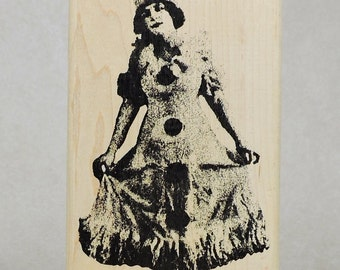 Rubber Stamp- Woman in clown hat- Invoke Arts- Gently Used
