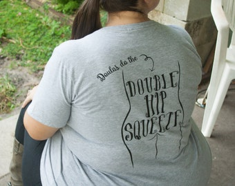 Doula Shirt Double Hip SQUEEZE Heather Grey V-Neck **Runs Small**