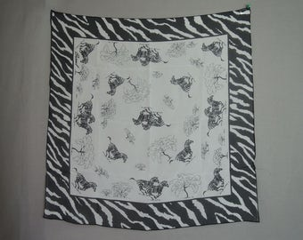 Vintage Chiffon Zebra Scarf, Burmel Black & White Novelty Print, 26 x 27 inches, Head Neck