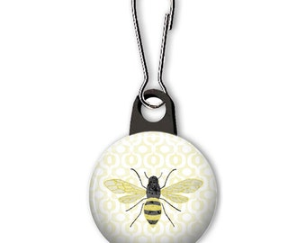 Honeybee zipper pull.  Bee charm.  Bee zipper pull charm.  Customized zipper pulls available.  Save the bees.  Honey charm.