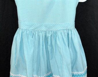 Aqua Blue Gingham Checked Toddler Girls Summer Dress with Rik Rack - Rick Rack Trim