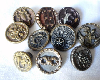 Lot of 10 ANTIQUE Small Metal BUTTONS MS10