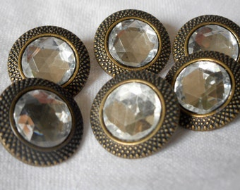 Set of 4 VINTAGE Clear Plastic Rhinestone in Metal BUTTONS