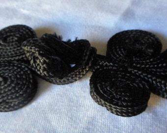 Black Fabric Frog Closure Clasp Buckle Q