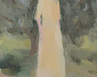 original painting / fine art painting- woman in a yellow dress