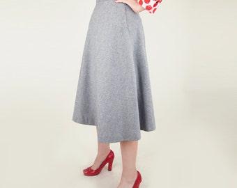 """70s Heather Gray Wool Flannel A Line Skirt 28"""" waist"""