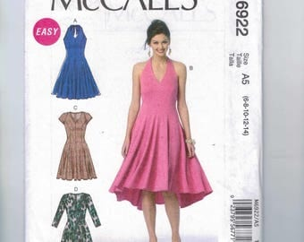 Misses Sewing Pattern McCalls M6922 6922 Easy Halter Neck Princess Seam Full Skirt Swing Party Dress Size 6 8 10 12 14 16 18 20 22 UNCUT