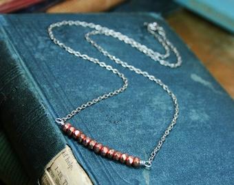 SALE - Delicate Copper Bead and Silver Chain Necklace