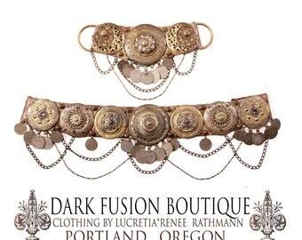"LUNAR Goddess Bellydance Belt, 32.5""-35"" inches, 82-89cm, Brass, Kuchi Coins, Fusion, Vintage, Noir, Nouveau, Ritual, Tribal, Costume"