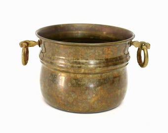 Small Aged Brass Cachepot with Rings on Handles