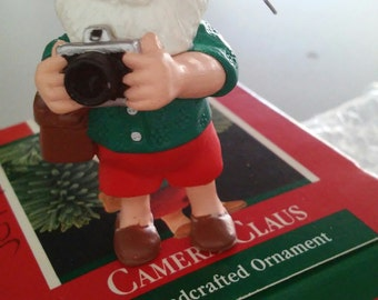 1989 Camera Claus - Hallmark Keepsake ornament, Santa photographer figurine, vacation tourist, New with box, packaging, hook