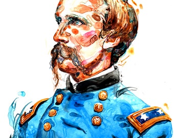 Watercolor historical portrait painting of Union Civil War Colonel Joshua L. Chamberlain- giclee from original
