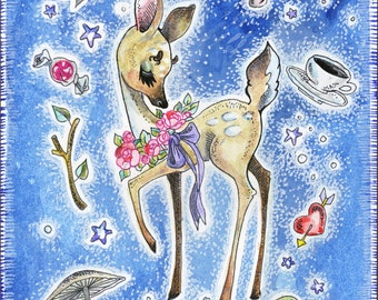 4x6 Watercolor Painting Fancy Fawn