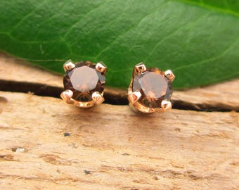 Smoky Quartz Studs - Genuine Smoky Quartz Stud Earrings in Real 14k Gold, Sterling Silver, or Platinum - 3mm, 4mm, 6mm, 8mm