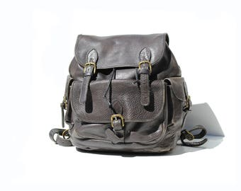 Vintage Black Thick Leather Large Travel Backpack