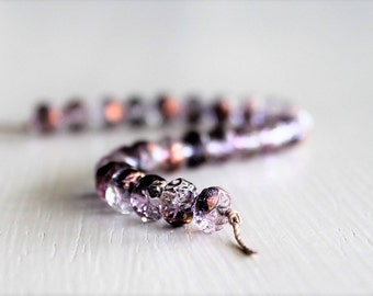 25 Amethyst Copper 6x5mm Czech Glass Rosebud Beads, Fire Polished Beads