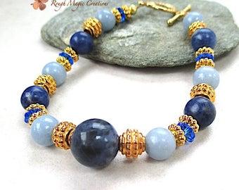 Blue Bracelet, Gold Beads, Dark & Light Blue Gemstone, Semi Precious Stone, Toggle Clasp, Sapphire Swarovski Crystal, September Birthday 538
