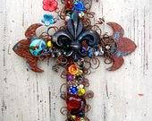 Decorative Wall Cross.Cross Wall Decor.Fleur de lis Cross.Christian Housewarming Gift.Rustic Wall Decor.Rustic Wall Cross.Decorative Cross