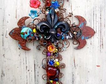 Decorative Wall Cross.Christian Gift.Cross Wall Decor.Fleur de lis Cross.Christian Housewarming Gift.Rustic Wall Decor.Rustic Wall Cross