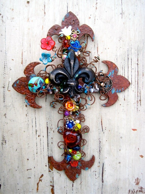 Decorative Wall Cross.Cross Wall Decor.Fleur de lis Cross.Christian Housewarming Gift.Rustic Wall Decor.Rustic Wall Cross.Decorative Cross