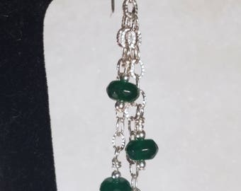E1148 Genuine Emerald and Sterling Silver Earrings