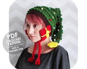 crochet pattern - christmas hat - christmas tree hat - christmas crochet pattern - novelty christmas hat - crochet christmas tree