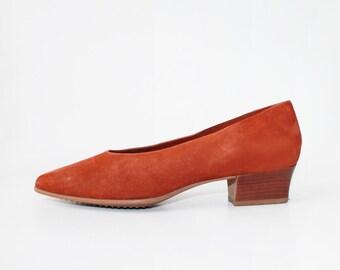 1970's Rust Nubuck Leather Heels