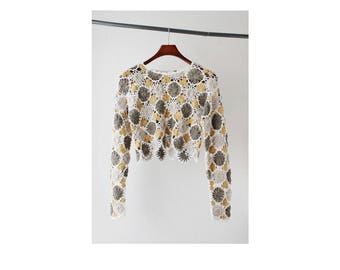 1990s Express Tricot Crochet Cropped Top