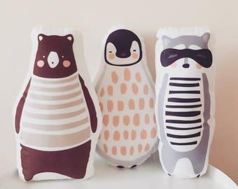 Penguin, Racoon, Brown Bear Stuffed animal Set, Plush Toy, Throw pillow, Decorative pillow, bedroom decoration, baby animal, woodland animal