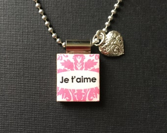 French Valentine Jewelry, Je t'aime pendant, French pendant, valentine gift, handmade Valentine jewelry, scrabble tile jewelry, heart charm