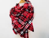 Large Blanket Scarf, Red Plaid Blanket Scarf, 100% Cotton Scarf, Soft Flannel Scarf, Fringe Scarf, Limited Stock