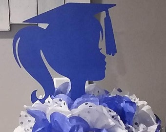 Graduation Centerpiece Girl Silhouette DIY Decoration Wall Backdrop 9 Inch Tall  Die Cut Paper Cuttings Pick Your School Colors 20 Colors