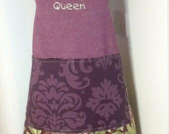 Baking apron,Ladies apron-Baking Queen embroidered apron OOAK
