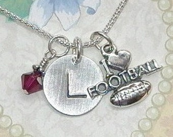 Football Necklace - I Love Football Personalized Hand Stamped Sterling Silver Initial Charm Necklace - Football Jewelry
