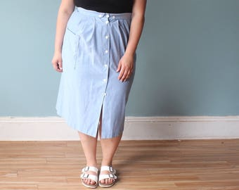 plus size skirt | chambray skirt with pockets | 1980s XXL