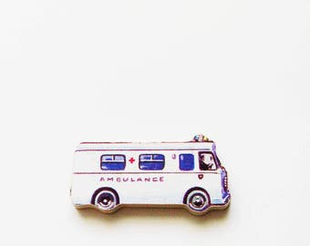 1960s Ambulance Brooch - Pin / Upcycled Vintage Hand Cut Wood Road Vehicle Puzzle Piece / White, Blue, Black / Unique Gift Under 30