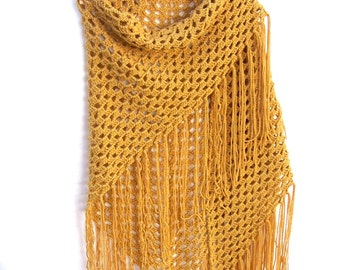 Gold Shawl - Triangle Wrap - Crochet Fringe Shawl - Boho Clothing - 70's Festival Shawl
