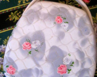 1950s Floral Sewing Bag, Vintage Bag, Purse, Handbag, Summer Purse, Shabby Chic 50s Purse, Vintage Rose, Spring Tote, Pretty Case, Day Purse