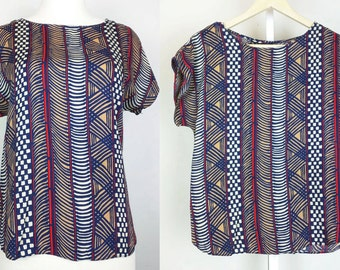 Vintage Navy Blue Red Abstract Pattern Rayon Top Misses M Sophisticates Jonathan Martin 80s