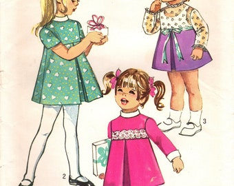 1970s Simplicity 9129 Vintage Sewing Pattern Toddler Girl Dress, A-line Dress, Party Dress, Long Pants Size 2