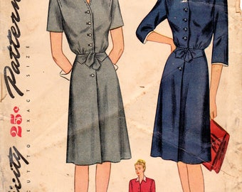 1940s Simplicity 1507 FF Vintage Sewing Pattern Women's One Piece Dress, Shirtwaist Dress, Afternoon Dress Size Bust 36