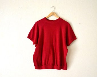 1980's Red Short Sleeve Sweatshirt